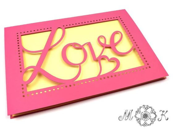 Vielseitig verwendbare Faltkarte Love - schlichte aber elegant - umgesetzt in rosa und gelb (Plotterdatei svg)