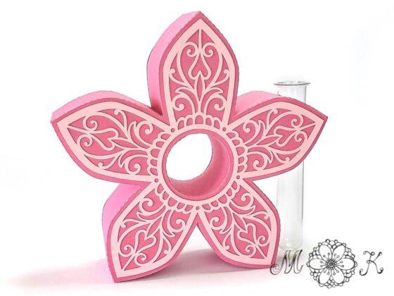 Blumen-Deko-Vase für einzelne Blümchen - umgesetzt in pink und rosa (Plotterdatei von MiriamKreativ.de)